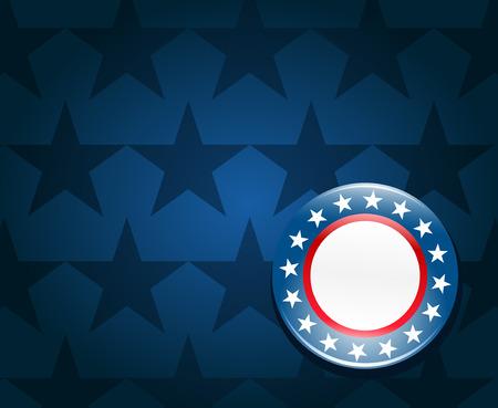 verkiezingen: Verkiezingscampagne knop op blauwe achtergrond