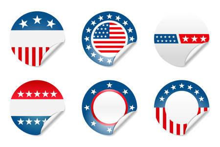 Set of 6 political American election campaign stickers Stock Vector - 2345052