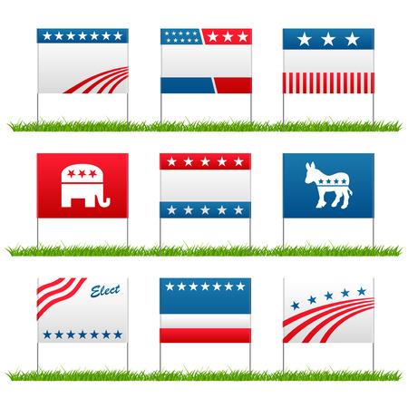 Set van 9 politieke yard tekenen van de verkiezings campagne Stock Illustratie
