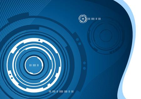 파란색과 흰색의 기계적 추상적 인 배경 디자인 일러스트