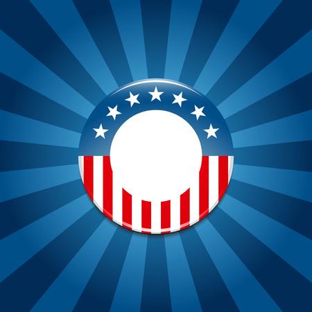 Verkiezingscampagne knop op blauwe achtergrond