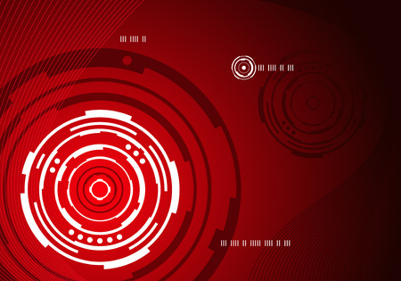 Red mechanical concentric circle abstract background design Vector