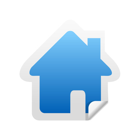 residence: Glossy home sticker icon with peeled edge Illustration