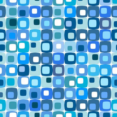 Retro patrón cuadrado azul, azulejos en cualquier dirección.  Ilustración de vector