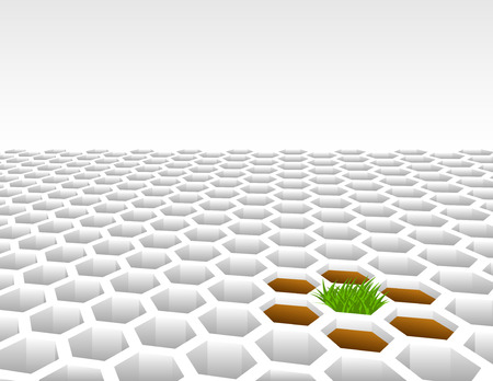 Grass growing from 3D hexagon shape mesh background