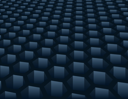 grid: Blue hexagon mesh shape background with global swatches Illustration