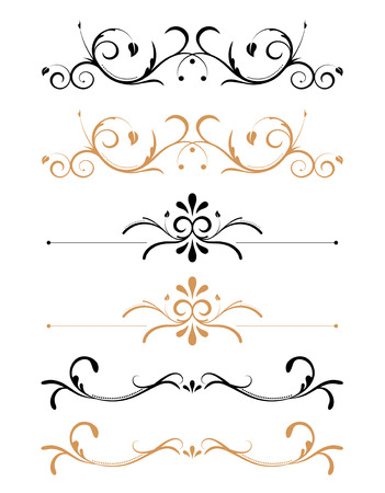 Black and brown ornamental floral page decorations and rules Stok Fotoğraf - 2611263