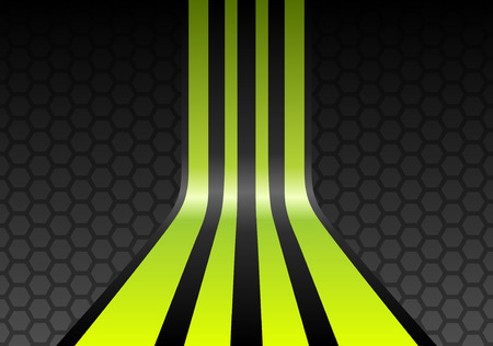 Lime green stripes on gray mesh honeycomb background Vector