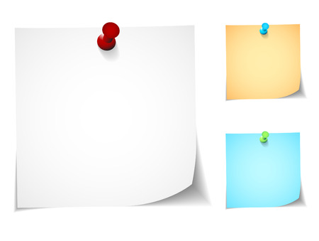 pinboard: Push pin notes in three colors of each note and pin Illustration