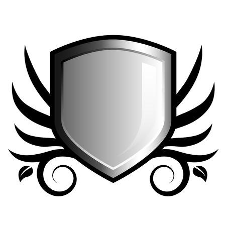 governmental: Brillante blanco y negro escudo emblema floral con acentos