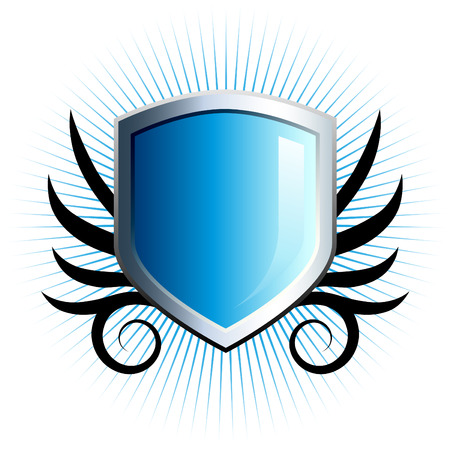 Glossy blue shield emblem with floral vine accents 일러스트