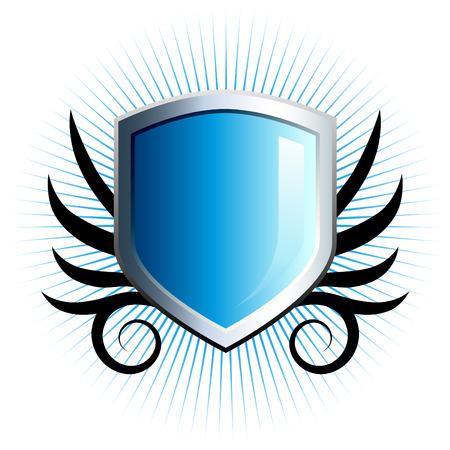 shield emblem: Scudo blu lucido emblema floreale con accenti di vite