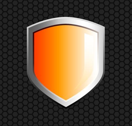 mesh: Glossy orange shield on hexagon mesh black background