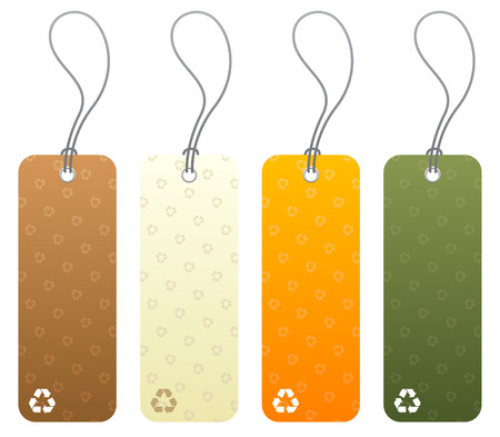 environmentalism: Set of 4 colored product tags with recycling icon symbols Illustration