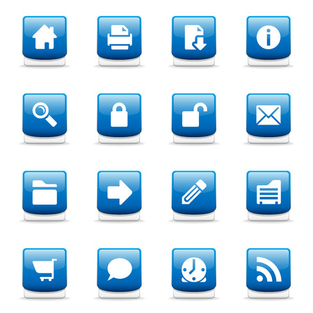 Set of glossy blue web and internet icons Vector