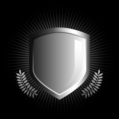 shield emblem: Lucida in bianco e nero scudo con l'emblema di vite accenti Vettoriali