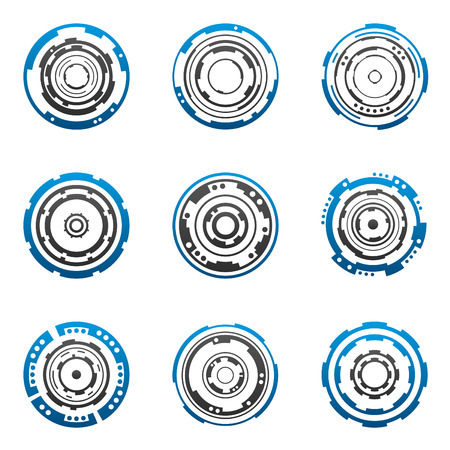 Mechanical tech gear shapes in blue and gray