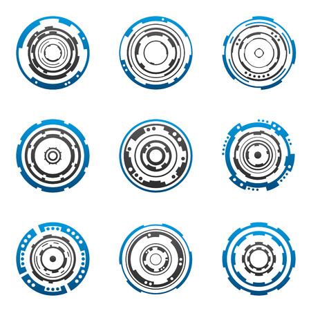 circulos concentricos: Mec�nica tecnolog�a aparejos formas en azul y gris  Vectores