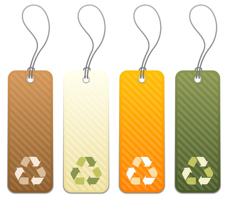 recycling: Set of 4 colored product tags with recycling icon symbols Illustration