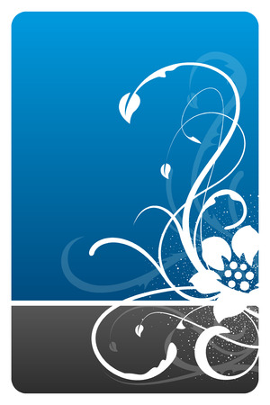 Black and blue floral design card with grunge pattern Vector