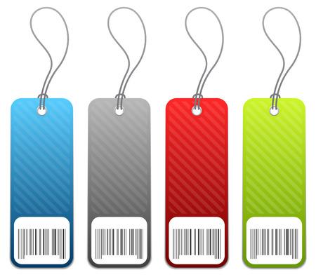 Set van 4 retail winkel prijs kaartjes in 4 kleuren