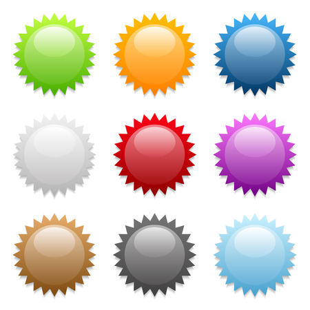 sunburst: Set of various colored round sticker icons