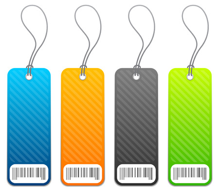 Set of 4 retail shopping price tags in 4 colors