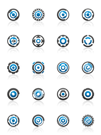Set of 20 gear and cog design elements and graphics