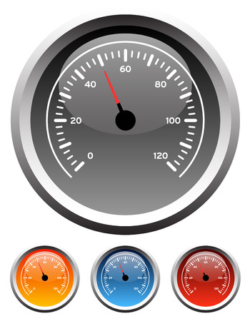 Dashboard speedometer gauge icons in 4 colors Stock Vector - 2942735