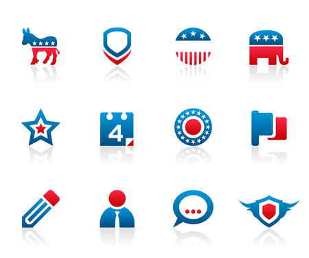 votes: Set of 12 political election campaign icons and graphics