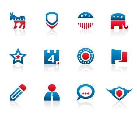 Set van 12 politieke verkiezingscampagne pictogrammen en afbeeldingen