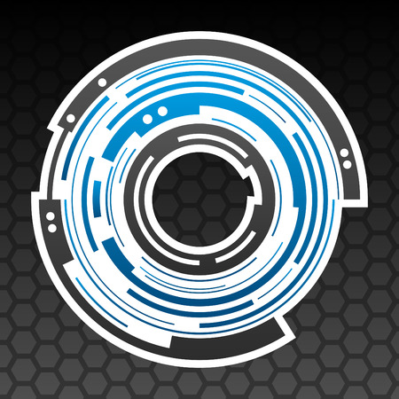 Concentric gear shape icon design in mesh background Ilustração