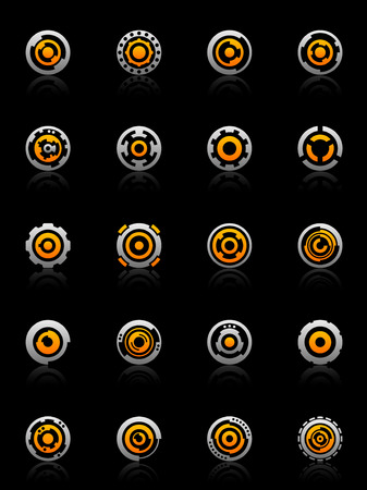 sparse: Set of 20 gear and cog design elements and graphics