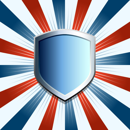 white coat: Patriotic shield emblem on red white and blue background