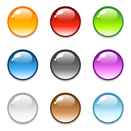 Set of glossy round sphere button icons