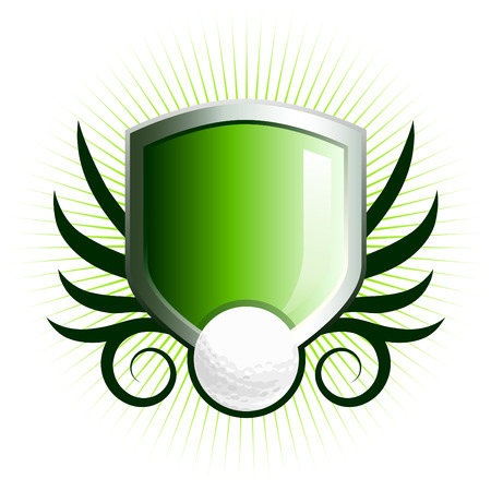 Glossy golf shield emblem with floral vine accents
