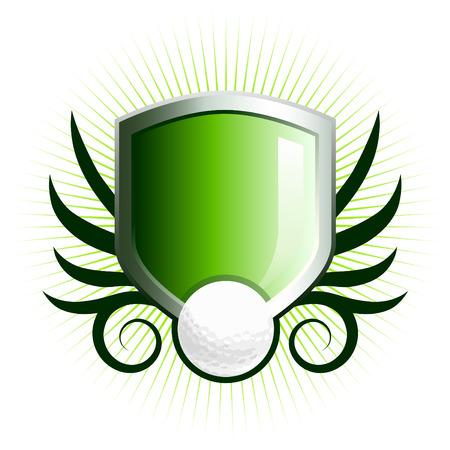 shield emblem: Lucida golf scudo emblema floreale con accenti di vite  Vettoriali
