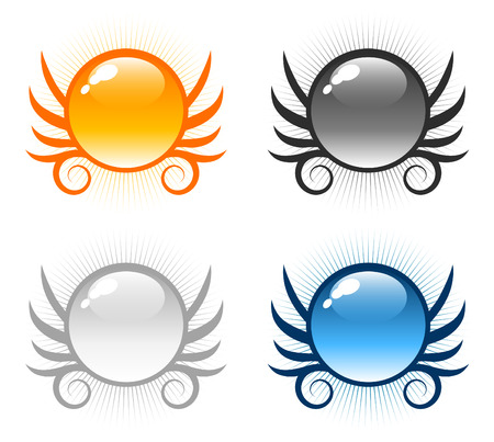 Set of glossy round winged sphere button icons Vector