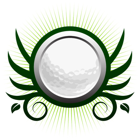 sport logo: Golf ball winged icon with floral vine accents