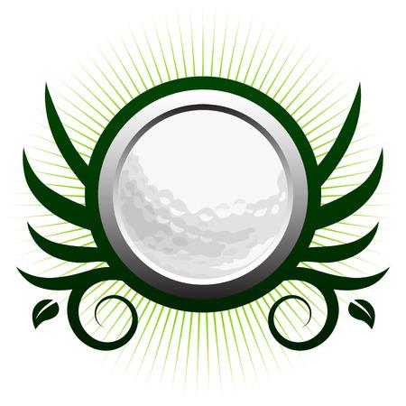 crests: Pallina da golf alato icona con accenti floreali di vite  Vettoriali