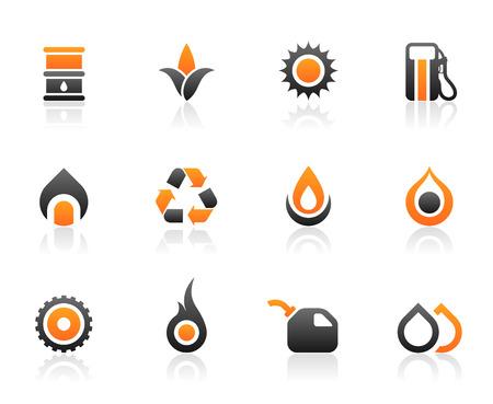 Conjunto de 12 iconos de combustible del medio ambiente y los gráficos