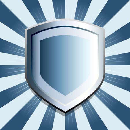 inset: Blue metallic shield emblem with inset gradient color
