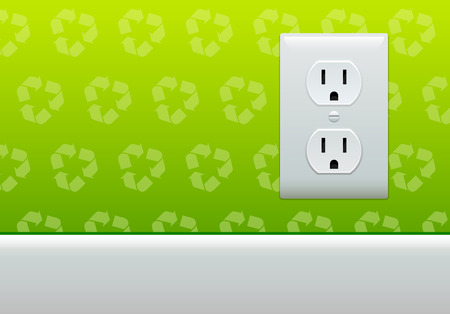 converter: Electric outlet on green recycle symbol wallpaper