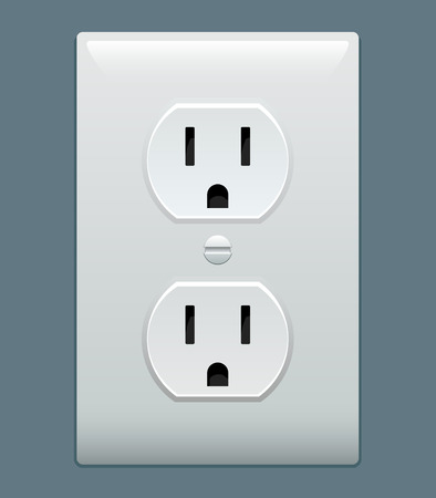 volts: Electric outlet illustration on blue gray background
