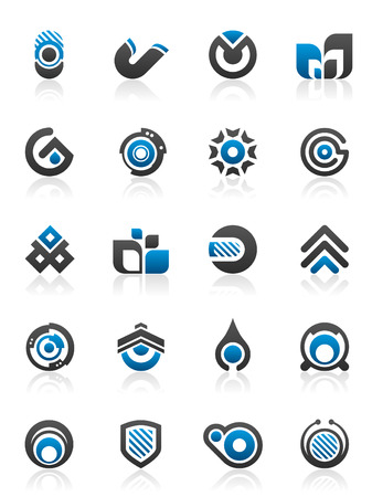 blue circles: Set of 20 abstract design elements and graphics