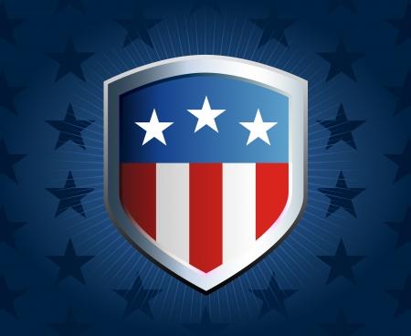 shield emblem: Bandiera americana intarsio a scudo con stemma stella sfondo  Vettoriali