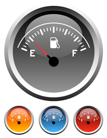 Dashboard gas gauge icons in 4 colors Vector