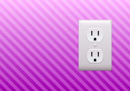 Electric outlet on pink stripe wallpaper background