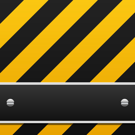 Black and yellow warning background with black banner Illustration