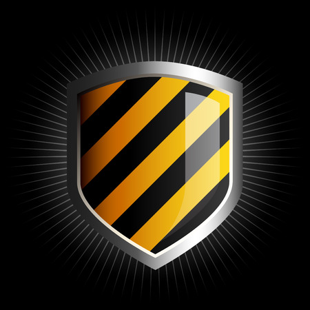 white coat: Glossy black and yellow shield emblem